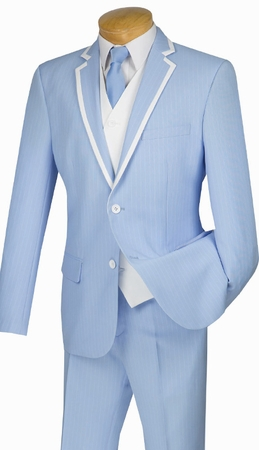 Slim Fit Prom Suits by Vinci Mens Blue Stripe 3 Piece SVFF-1 - click to enlarge