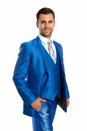 Slim Trim Fit Shiny Blue Tight Fitting Mens Suit 3 Piece Tazio M163S-07 - click to enlarge