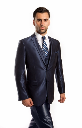 Slim Fit Young Man Style Shiny Navy Suit Tight 3 Piece Tazio M163S-08 - click to enlarge