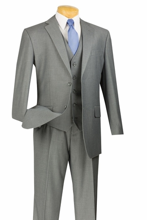 Vinci Mens Slim Fit Suits 3 Piece Gray Textured Solid SV2900 - click to enlarge