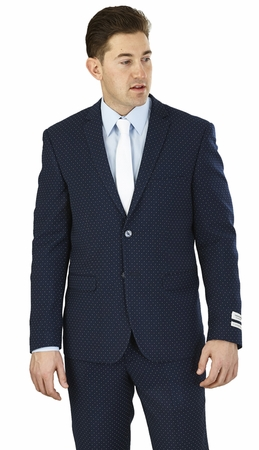 Slim Fit Suit Designer Style Mens Navy Dot Fabric Lorenzo Bruno S62DT - click to enlarge