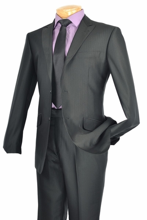 Slim Fit Suit for Men by Vinci Shiny Black 2 Button Suits S2RR-1 IS - click to enlarge