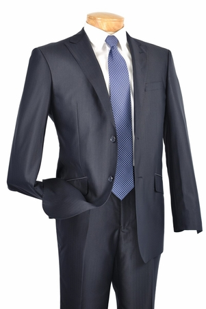 Slim Fit Suits for Men by Vinci Shiny Navy 2 Button Jacket S2RR-1 conte - click to enlarge