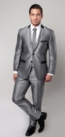 Slim Fit Suit Men's Metallic Silver Fashion 2 Piece Tazio M201S-03