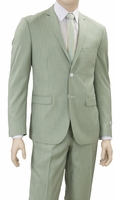 Slim Fit Suit Mens Mint Green Flat Front Pants Lorenzo Bruno S62DM
