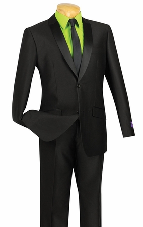 Vinci Mens Slim Fit Black Glossy Finish Sharkskin Style Tuxedo Suit S2PS-1 - click to enlarge