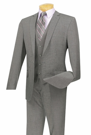 Vinci Gray Textured Solid 3 Piece Slim Fit Suits SV1R-1 1960s - click to enlarge