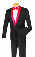 Slim Fit Tuxedo Mens Black Red Lapel Jacket 1 Button S1SH-2