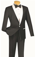 Slim Fit Tuxedo Mens Black White Shawl Collar Jacket 1 Button S1SH-2