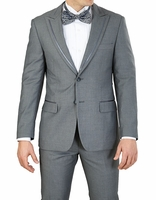 Slim Fit Tuxedo Mens Gray Trim Jacket Flat Front Vittorio YM62N