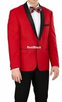 Slim Fit Tuxedo Mens Red Black Jacket 1 Button Vittorio YS61S