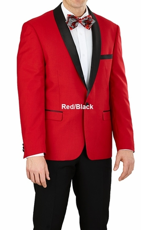 Slim Fit Tuxedo Mens Red Black Jacket 1 Button Vittorio YS61S - click to enlarge