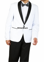 Slim Fit Tuxedo Mens White Black Pants 1 Button Vittorio YS61S