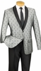 Slim Fit Tuxedo Shiny Gray Polka Dot Jacket Suit S2DR-5