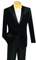 Slim Fit Velvet Jacket Tuxedo Mens Black Tux Vinci T-SV