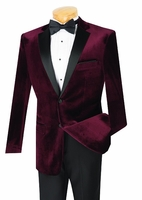 Slim Fit Velvet Jacket Tuxedo Mens Burgundy Wine Tux Vinci T-SV