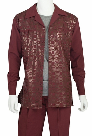 Jazz Mens Burgundy Foil Print Casual Walking Suits PLGP1 - click to enlarge