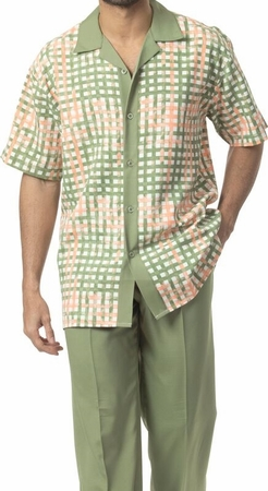 Montique Big Size Green Pattern Walking Suit 1730X - click to enlarge