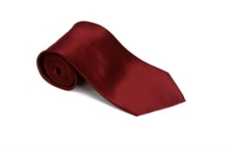 Solid  Burgundy Color Satin Tie and Hanky Set