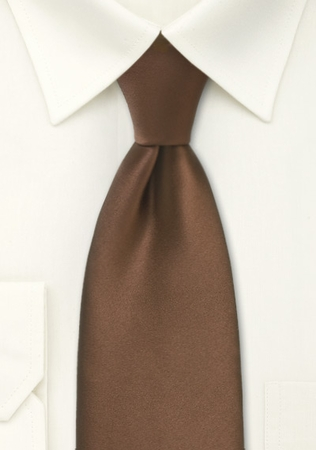 Solid Mocha Brown Color Satin Tie and Hanky Set - click to enlarge