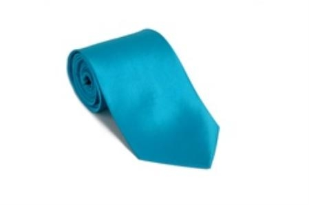 Solid Turquoise Color Satin Tie and Hanky Set