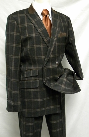 Ferera Mens Brown Flannel Plaid Double Breasted Suit 2451 IS - click to enlarge