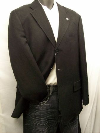 Soprano Mens Black Linen Blend Blazer M1605 - click to enlarge