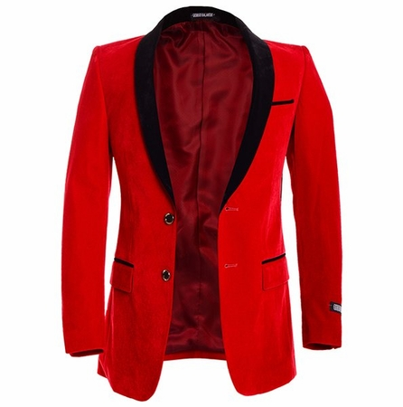 Slim Fit Mens Red Velvet Blazer Slim Fit Sorento - click to enlarge