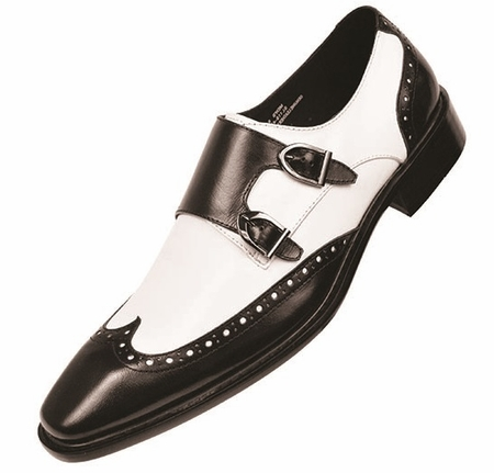 Steven Land Mens Black White Double Buckle Dress Shoes SL118 IS - click to enlarge
