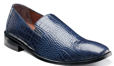Stacey Adams Men's Blue Crocodile Texture Loafers Galindo 24996-400
