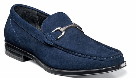 Stacy Adams Navy Mens Suede Mocassin Toe Bit Loafer Newcomb 25139-415 - click to enlarge