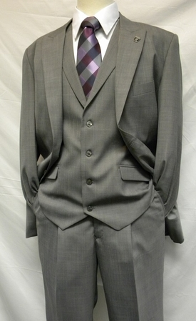 Stacy Adams Gray 1920s Mart Vested Solid 3 Piece Suits 4015-121 IS - click to enlarge