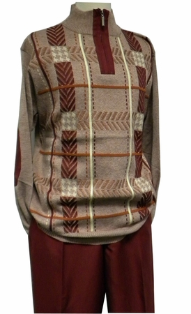 Stacy Adams Mens Red Fancy Sweater and Pants Set 8330 - click to enlarge