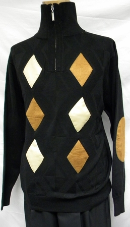 Stacy Adams Black Beige Suede Patch Sweater SA102 IS - click to enlarge