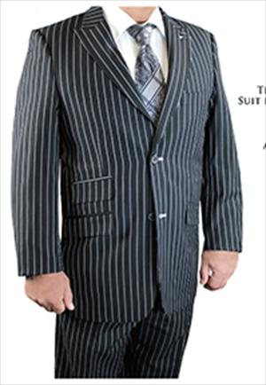 Stacy Adams Black Gangster Stripe Scoop Revo Vested Suit 5490-000 OS