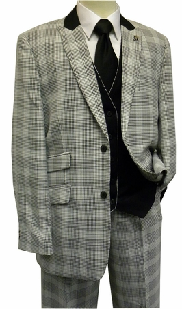 Stacy Adams White Black Plaid Chico 4 Piece Fashion Suit 5564-010 IS - click to enlarge