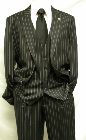 Stacy Adams Black Gangster Stripe Fashion Suit Mars Vested 4017-000 IS - click to enlarge