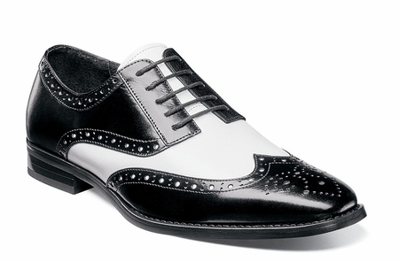 Stacy Adams Black White Leather Wingtip Shoes Tinsley 25092-111 - click to enlarge