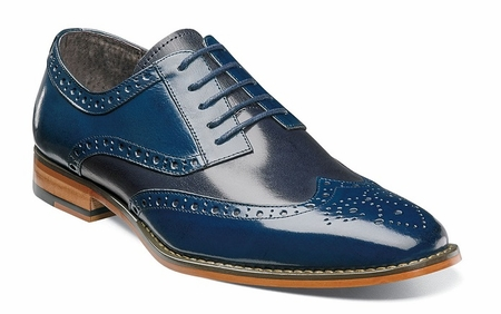 Stacy Adams Blue Leather Wingtip Shoes Tinsley 25092-468 - click to enlarge