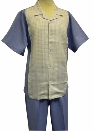 Stacy Adams Blue Plaid Rayon Casual Two Piece Walking Suit 9596 - click to enlarge