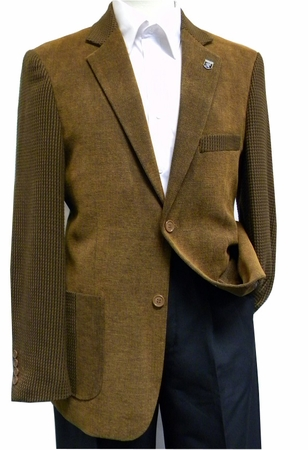Stacy Adams Brown Corduroy Multi Fabric Blazer - click to enlarge