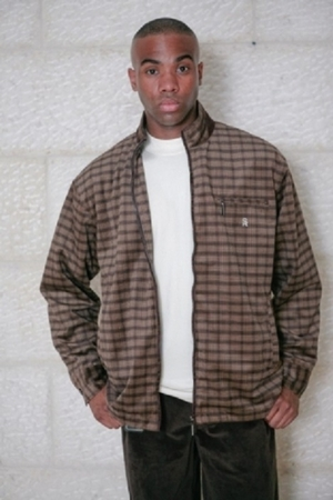 Stacy Adams Brown Velour Plaid Leisure Suit SA703  - click to enlarge