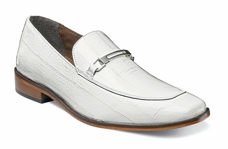 Stacy Adams White Italian Style Loafer Mens Eel Print Santiago 25087-100 OS - click to enlarge
