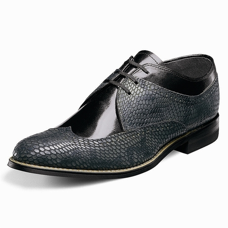 Stacy Adams Dayton Black Gray Snake Print Wingtip Shoes 00621-975  - click to enlarge