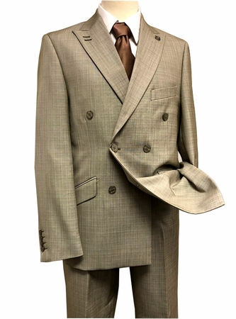 Stacy Adams Double Breasted Suit Mens Taupe Flat Front Duece 5540-048 - click to enlarge