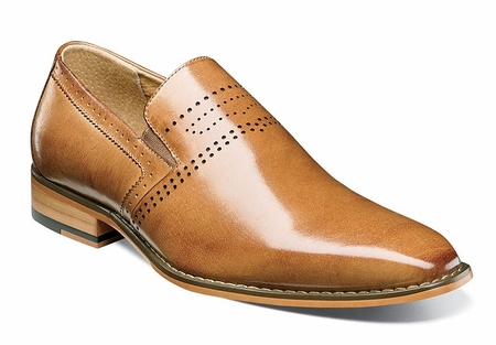 Stacy Adams Dress Shoes Mens Tan Leather Plain Toe Slip On 25157-240 - click to enlarge