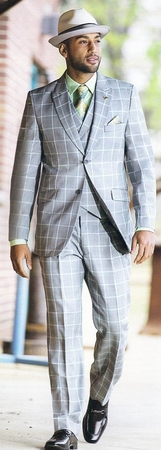 Stacy Adams Gray Windowpane 3 Piece Fashion Suit 3858-021 IS - click to enlarge