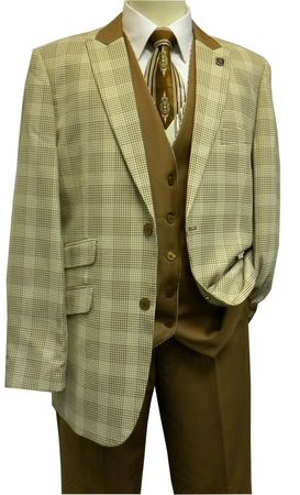 Stacy Adams Ivory Brown Fancy Plaid 4 Pc. Fashion Suit Chico 5564-058 IS - click to enlarge