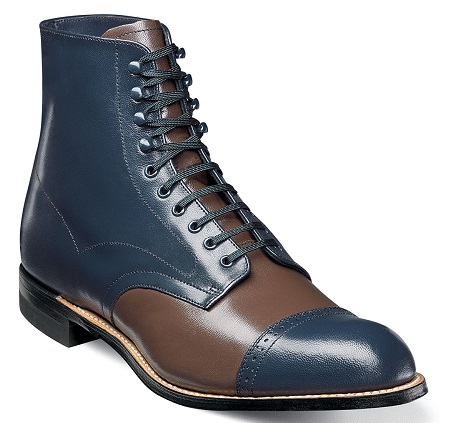 Stacy Adams  Mens Navy Two Tone Cap Toe Madison Boots 00015-492