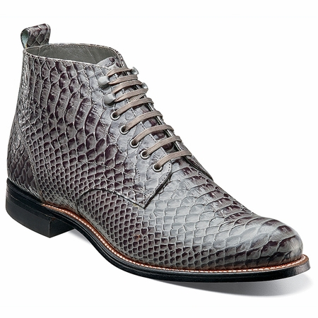 Stacy Adams Madison 1920s Mens Gray Snake Print Boots 00057-011 - click to enlarge